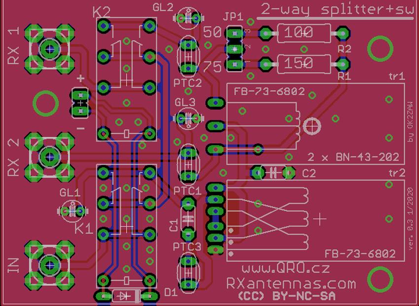 2way small splitter bypass pcb v03