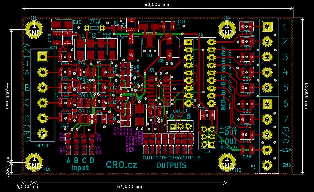BCD to DEC converter pcb v0.1